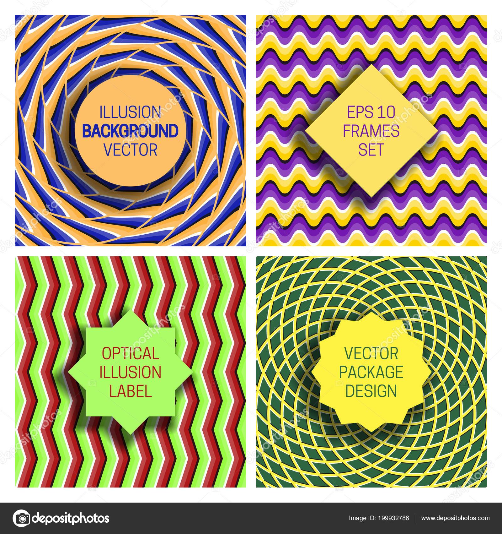 Conjunto de Marcos distintos sobre fondos de ilusión óptica ...