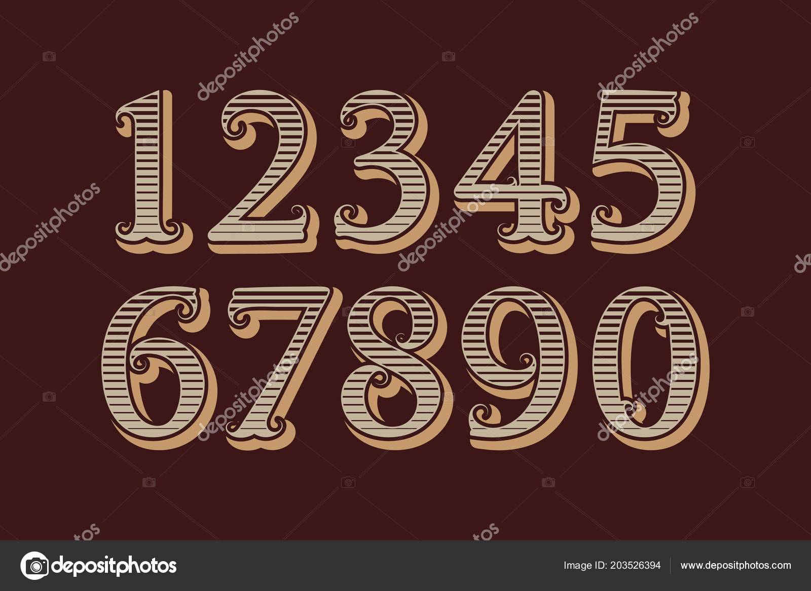 Striped Vintage Numbers Old English Style — Stock Vector