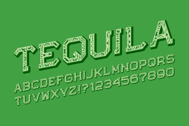 Tequila letters and numbers in carnival style. Isolated english alphabet. clip art vector