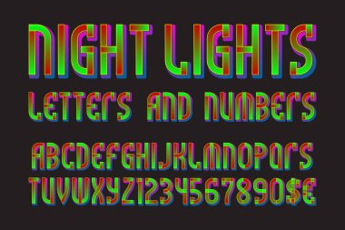 Night lights font of letters, numbers with currency signs of dollar and euro. Isolated typographic symbols.