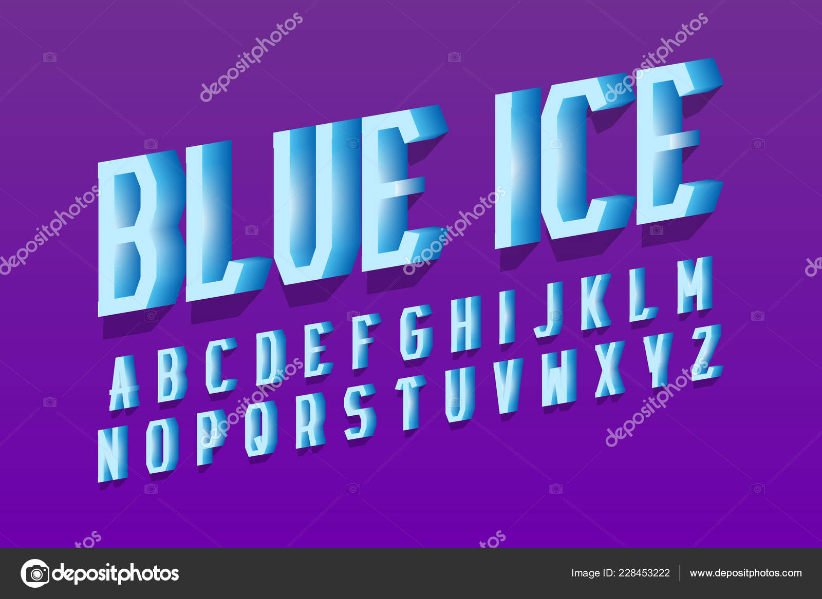 Blue Ice Alphabet Cool Letters Font Isolated English