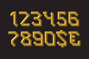 Golden faceted numbers with currency signs in ingots form. clip art vector