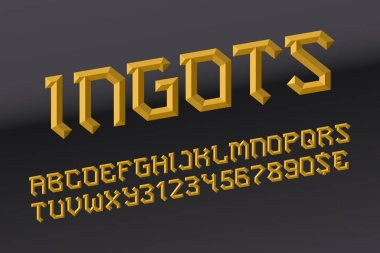 Ingots letters with numbers and currency signs. Golden faceted font. Isolated english alphabet. clip art vector