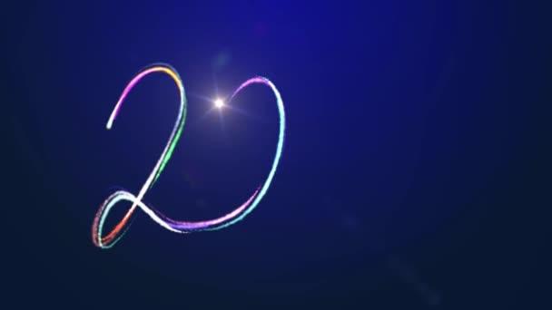 2021 Šťastný Nový rok konfety proud slavnostní animace na modrém pozadí. Abstraktní dynamické osvětlení oslavy pohybu grafický design.