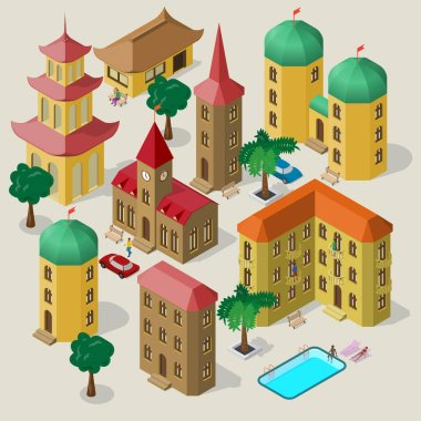 Set of isometric buildings with benches, trees, car, swimming pool and people. icon
