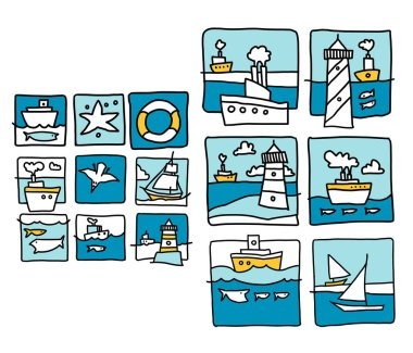 Sea illustration made in cartoon style. Boats, waves, fishes