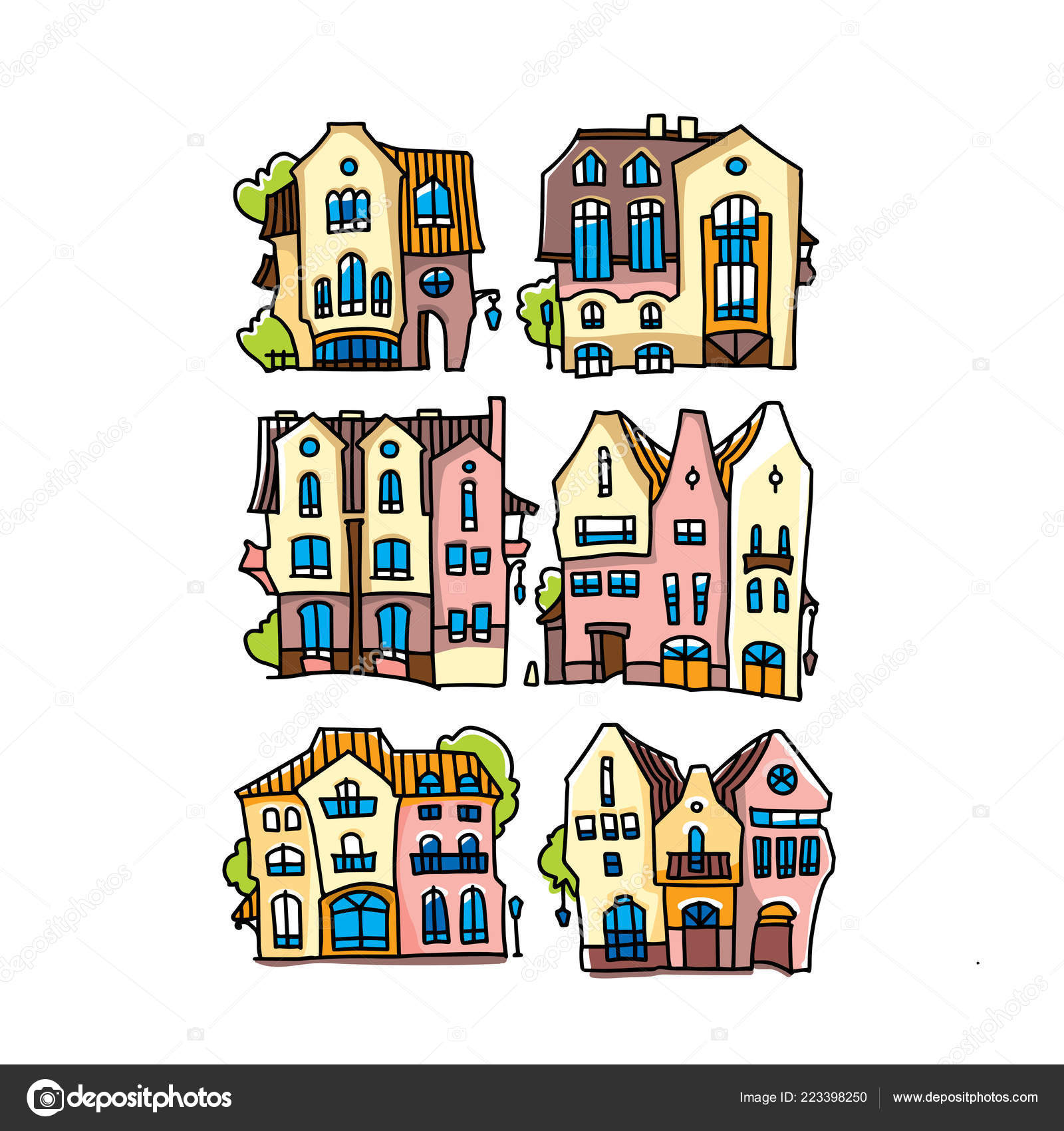 Funny Colorful Houses Made In Cartoon Style Facade Of Cartoon House
