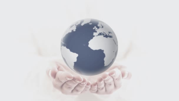 weibliche Hand, die Erde hält. Hände mit sich drehender Erde. Konzept kümmert sich um den Planeten Erde.