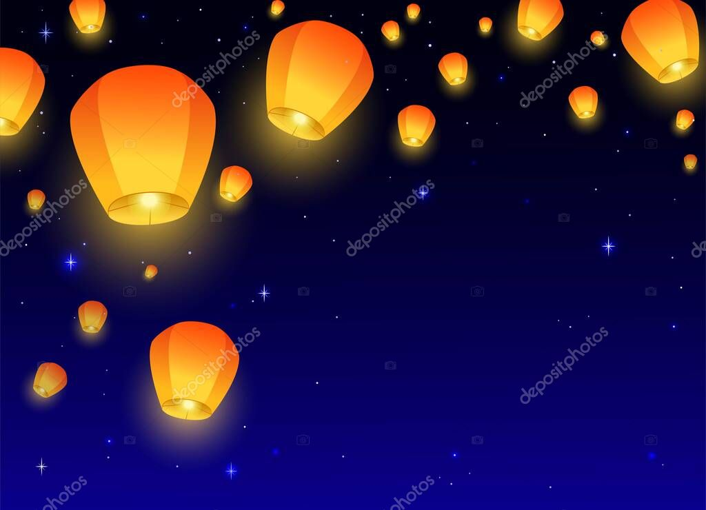 Flying Sky Lanterns Horizontal Banner Background Diwali Festival Mid Autumn Festival Or Chinese Festive Luminous Floating Lamps In The Night Sky With Place For Text Color Vector Illustration Premium Vector In