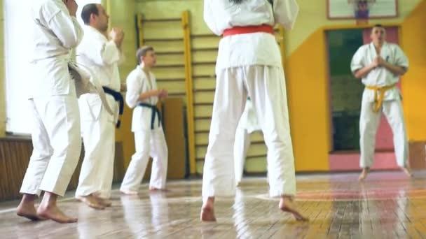 Oroszország, Novoszibirszk, augusztus 15-én, 2018 A gyakorló karate stroke beltéri emberek csoportja. Edzéshez karate
