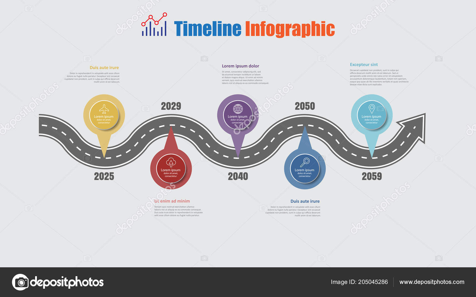 Road map business timeline infographic step pins designed abstract road map business timeline infographic with 5 step pins designed for abstract background elements diagram planning process web pages digital technology data ccuart Choice Image