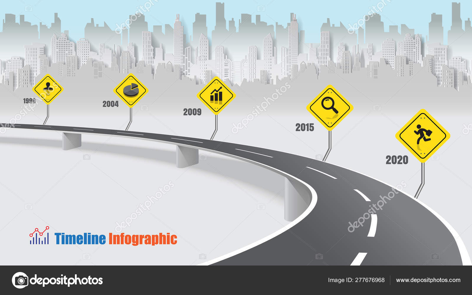 Business Road Map Timeline Infographic City Designed Abstract Background Template Vetores De Stock C Scenenature 277676968