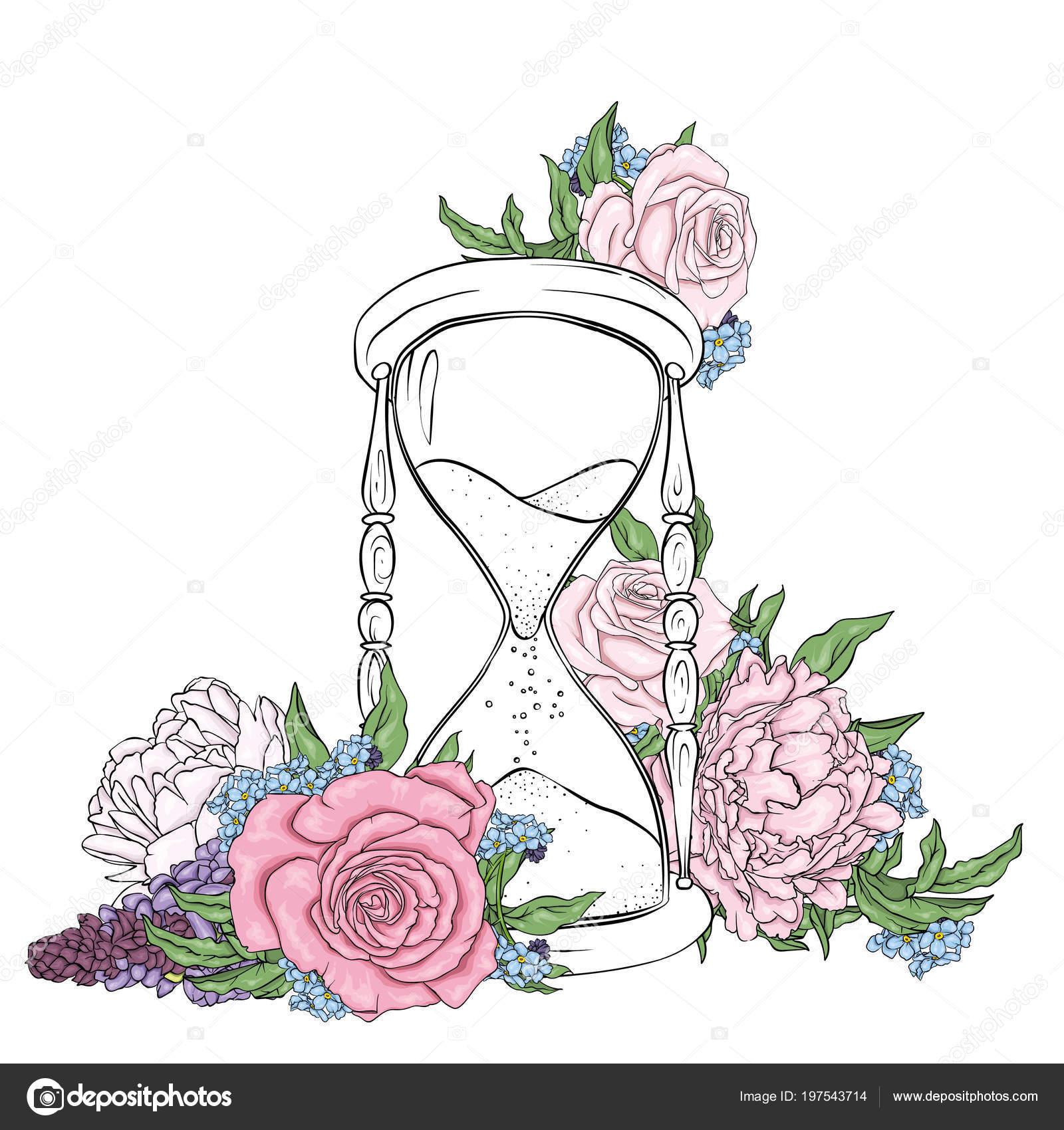 Imágenes Las Flores Mas Hermosas Para Dibujar Antiguo Reloj Arena
