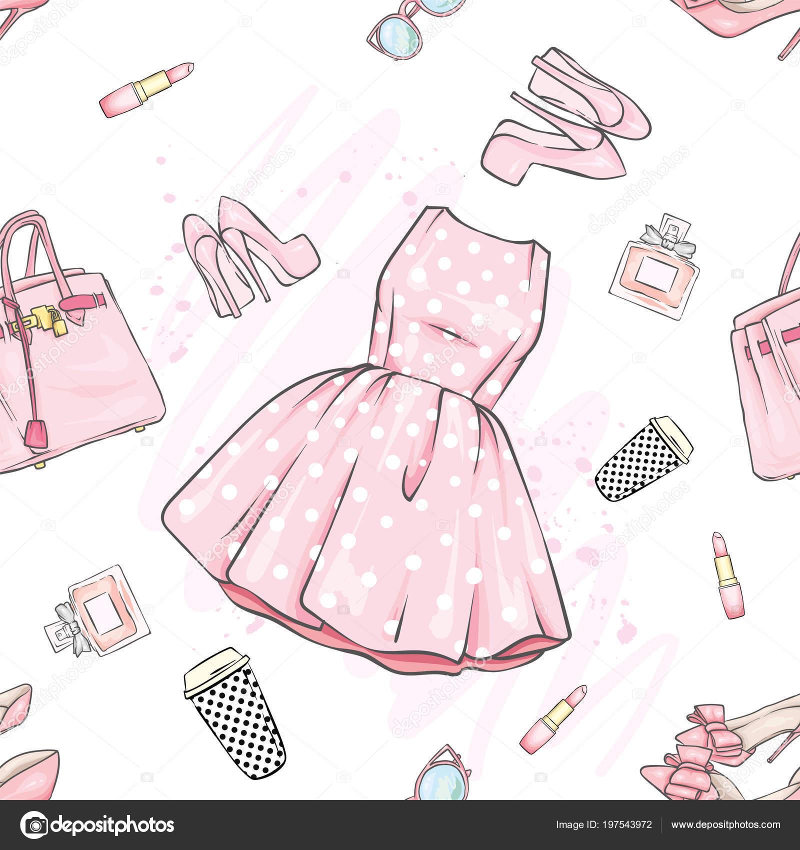 77e70072cdca85 Набір модного жіночого одягу та аксесуарів. Сукня, сумку, взуття на  підборах, помада, парфуми і окуляри. Векторні ілюстрації. & Стиль моди.  Фоновому режимі.