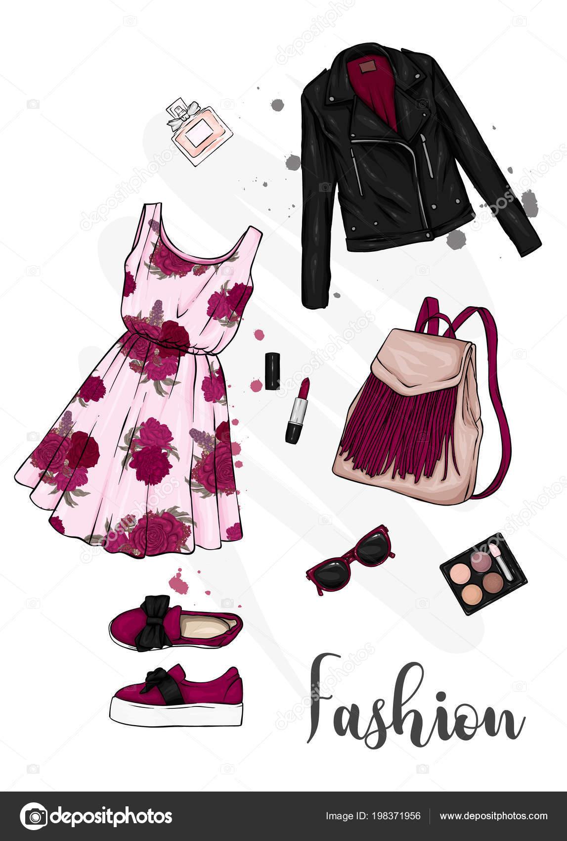2923c86b7 Conjunto Ropa Mujer Elegante Mirada Moda Vestido Zapatos Mochila  Maquillaje– ilustración de stock
