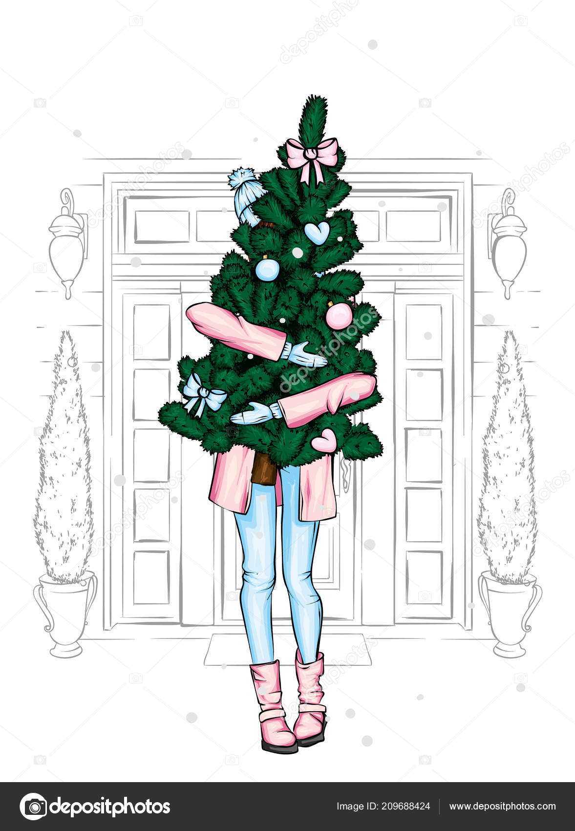 Christmas Boots Drawing.Beautiful Girl Coat Boots Holding Christmas Tree New Year