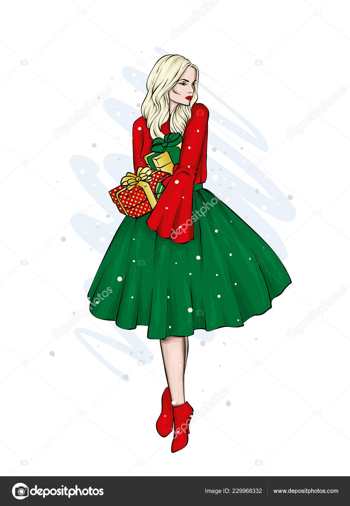 12234669d2 A girl in a beautiful vintage dress. Vector illustration. Clothing and  accessories
