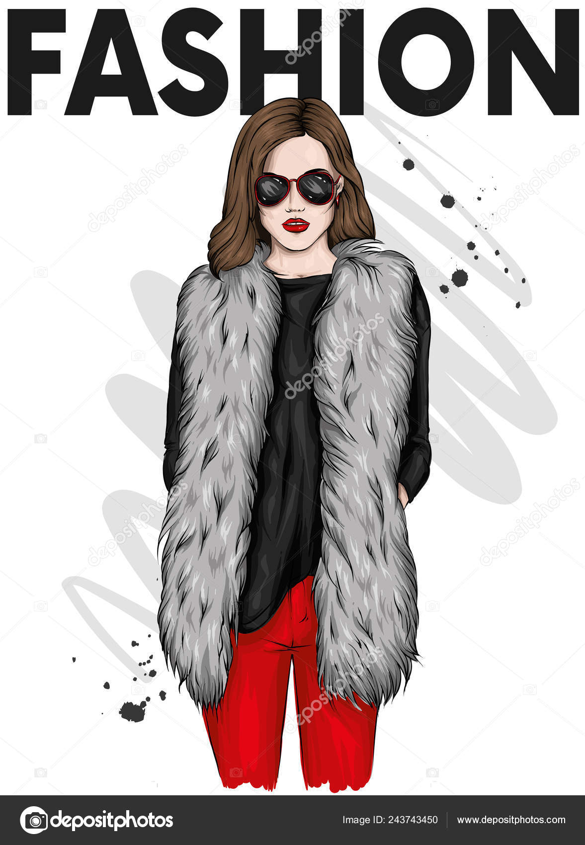 c715a3198 Hermosa Chica Con Estilo Abrigo Piel Pantalones Gafas Ropa Moda ...