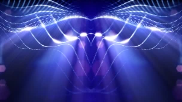 3d loop abstract animation with beautiful light effects of glow particles  with depth of field, bokeh and light rays for seamless abstract background  vj loop like microcosm or space  sparkling blue 26