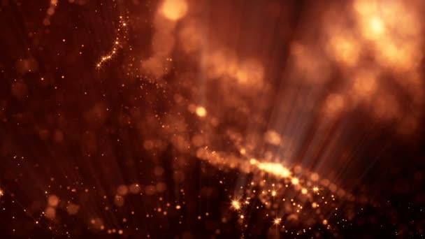 3D smyčky abstraktní animace s krásné světelné efekty záře částic s hloubkou ostrosti, bokeh a světelné paprsky pro bezešvé pozadí abstraktní vj smyčky jako mikrokosmos nebo prostoru. šumivým zlata 16