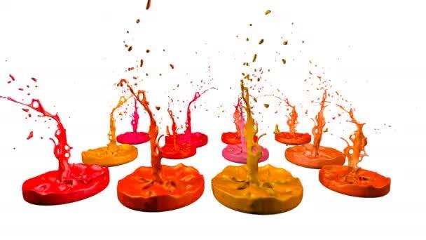 3D stříkance kapaliny. Barva bounce v rozlišení 4k na bílém pozadí. Simulace postříkání inkoustu na hudební reproduktory, které hrají hudbu. verze odstíny červené 3