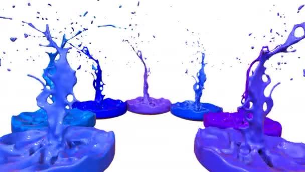 3D stříkance kapaliny. Barva bounce v rozlišení 4k na bílém pozadí. Simulace postříkání inkoustu na hudební reproduktory, které hrají hudbu. verze odstíny modré 10