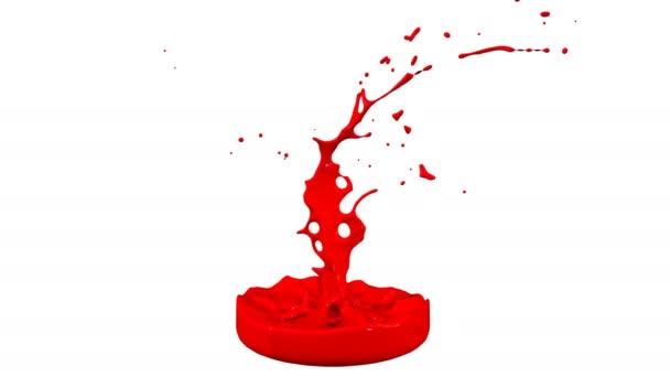 3D stříkance kapaliny. Barva bounce v rozlišení 4k na bílém pozadí. Simulace postříkání inkoustu na hudební reproduktory, které hrají hudbu. verze odstíny červené 8
