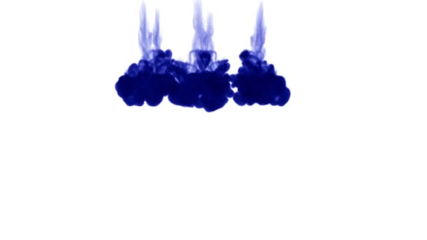 blue ink dissolves in water on white background with luma matte. 3d render of computer simulation. Inks inject in water. 3