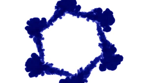 blue ink dissolves in water on white background with luma matte. 3d render of computer simulation. Inks inject in water. circular structure 5