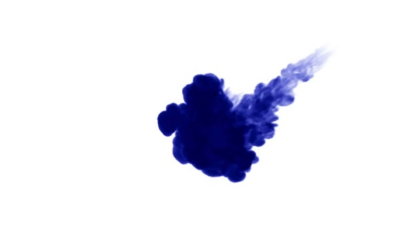 blue ink dissolves in water on white background with luma matte. 3d render of computer simulation. Inks inject in water. 4