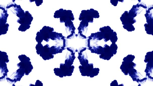 blue ink dissolves in water on white background with luma matte. 3d render of computer simulation. Inks inject in water. Rorschach inkblot test 5