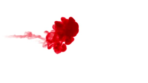 red ink dissolves in water on white background with luma matte. 3d render of computer simulation. Inks inject in water. 5