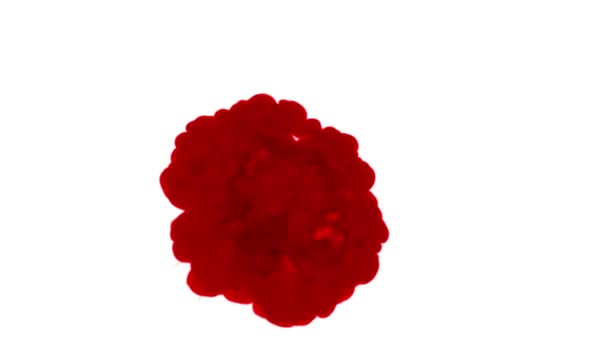red ink dissolves in water on white background with luma matte. 3d render of computer simulation. Inks inject in water. circular structure 2