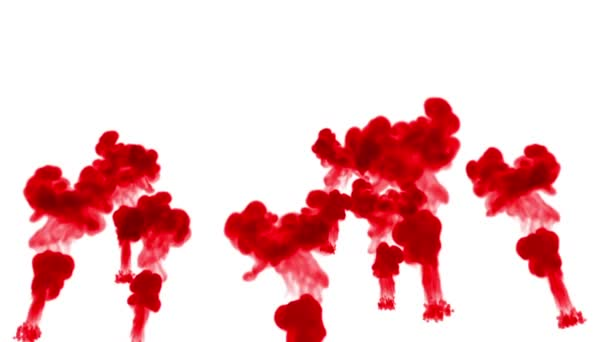 red ink dissolves in water on white background with luma matte. 3d render of computer simulation. Inks inject in water. many streams 8