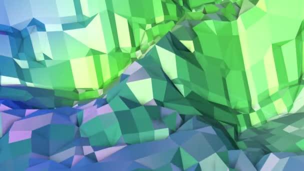 4k čisté geometrické animované pozadí ve smyčce, nízké poly styl. Bezproblémovou 3d animace s moderní barvy přechodu. Creative jednoduché zelené modré pozadí. 8