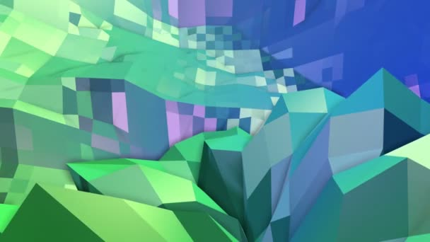 4k clean geometric animated background in loop, low poly style. Seamless 3d animation with modern gradient colors. Creative simple green blue background. 12