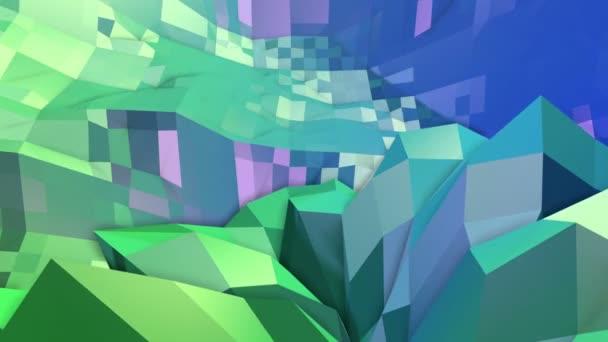 4k tiszta geometriai megélénkít háttér-hurok, alacsony poly stílus. Varrat nélküli 3D-s animáció modern átmenetes színek. Kreatív egyszerű zöld kék háttér. 12