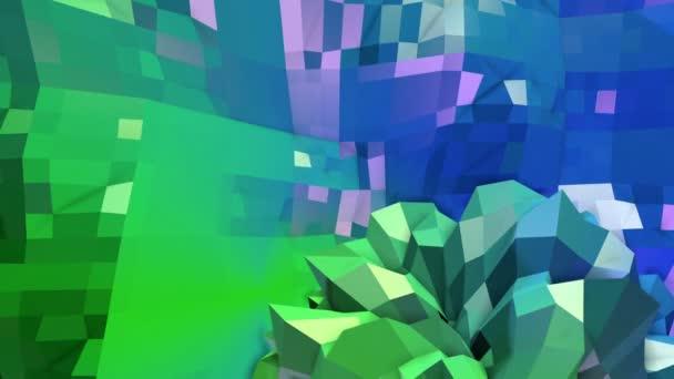 4k čisté geometrické animované pozadí ve smyčce, nízké poly styl. Bezproblémovou 3d animace s moderní barvy přechodu. Creative jednoduché zelené modré pozadí. 13