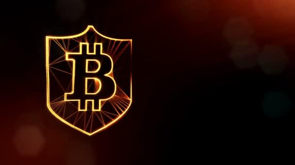 Bitcoin logó belsejében a pajzs. Pénzügyi háttér készült fény részecskék, mint a vitrtual hologram. Fényes 3d hurok élénkség-val mélység-mező, bokeh és másolás. Sötét V4