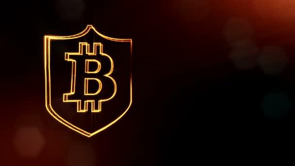 Bitcoin logó belsejében a pajzs. Pénzügyi háttér készült fény részecskék, mint a vitrtual hologram. Fényes 3d animáció zökkenőmentes mélység mező, bokeh és másolás. Sötét V4