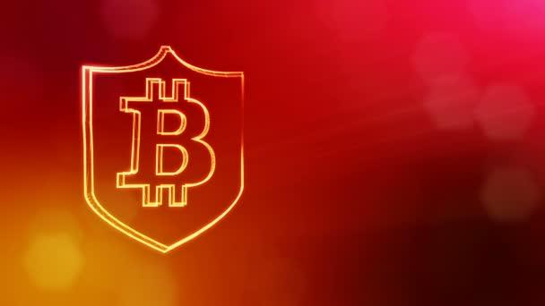 Bitcoin logó belsejében a pajzs. Pénzügyi háttér készült fény részecskék, mint a vitrtual hologram. Fényes 3d animáció zökkenőmentes mélység mező, bokeh és másolás. Piros V4