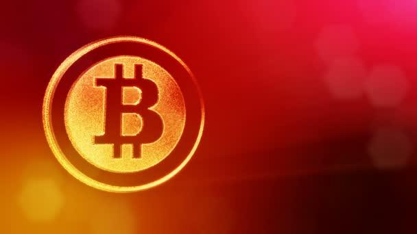Bitcoin logo uvnitř kruhů jako mince. Finanční zázemí z částic záře jako vitrtual hologram. 3d lesklé smyčka animace s hloubkou pole, bokeh a kopie prostoru. Červená V4