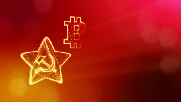 logo bitcoin and emblem of the USSR. Financial background made of glow particles as vitrtual hologram. Shiny 3D loop animation with depth of field, bokeh and copy space. Red V4