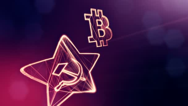 logo bitcoin and emblem of the USSR. Financial background made of glow particles as vitrtual hologram. Shiny 3D loop animation with depth of field, bokeh and copy space. Violet V4