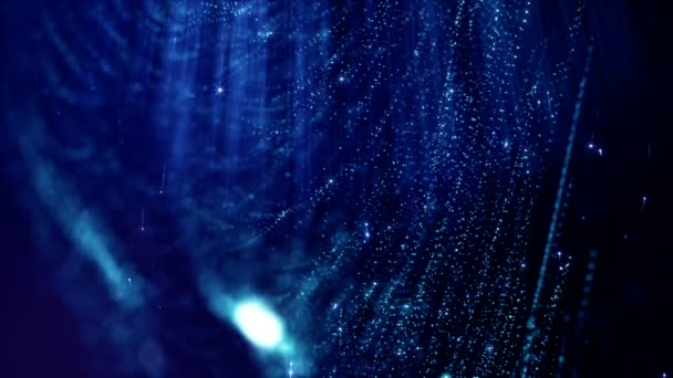 dunkler digitaler abstrakter Hintergrund mit schönen glühenden Teilchen. 3D-Renderhintergrund mit Teilchen und Schärfentiefe. Loop-Animation, nahtloses Filmmaterial. blauer Raum 1