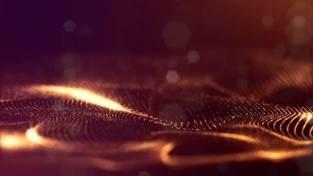Tmavě digitální pozadí abstraktní s krásnou zářící částice. 3D vykreslení pozadí s částicemi a hloubku ostrosti. Smyčky animace, plynulé záběry. Červené Zlaté řetězce 1