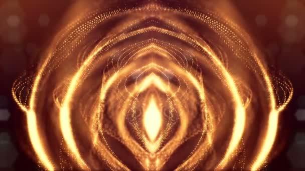 Tmavě digitální pozadí abstraktní s krásnou zářící částice. 3D vykreslení pozadí s částicemi a hloubku ostrosti. Smyčky animace, plynulé záběry. Červené Zlaté sci-fi struktury 21