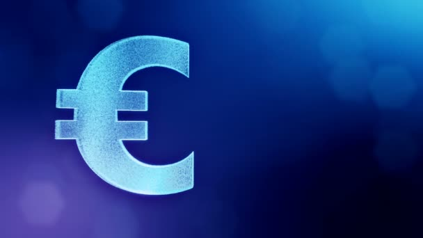 Animation icon or emblem of Euro Logo.. Financial background made of glow particles as vitrtual hologram. Shiny 3D loop animation with depth of field, bokeh and copy space. Blue version 3