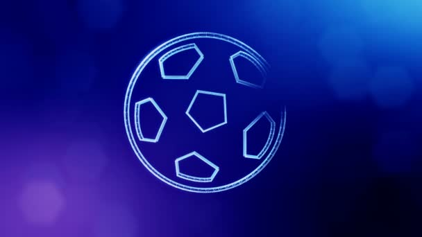 icon of soccer ball. Background made of glow particles as vitrtual hologram.. 3D seamless animation with depth of field, bokeh and copy space. Blue version 3