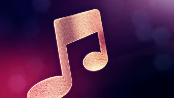 icon of music. Background made of glow particles as vitrtual hologram. 3D seamless animation with depth of field, bokeh and copy space. Violet version 3